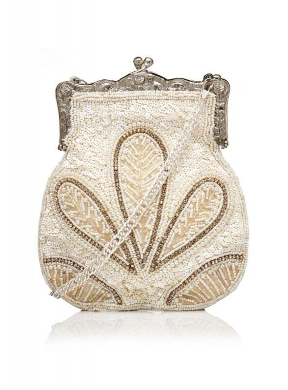 1920s Vintage Hand Beaded Purse in Cream