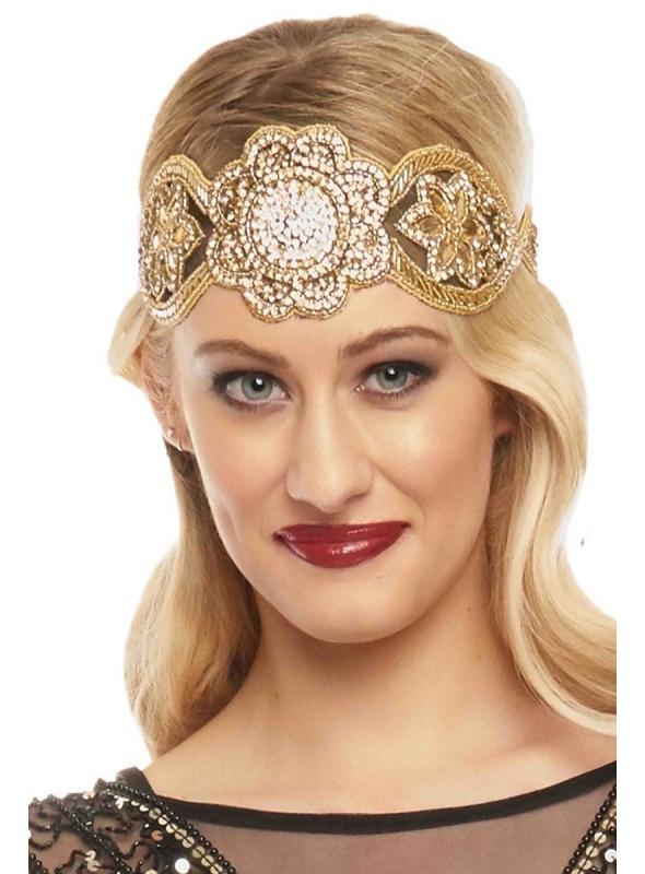 Roaring 20s Style Headband in Black Gold