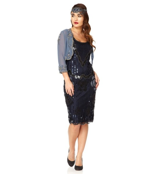 Flapper Style Sleeveless Dress in Navy