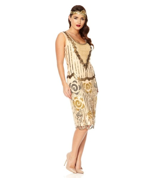 Flapper Style Sleeveless Dress in Blush Gold