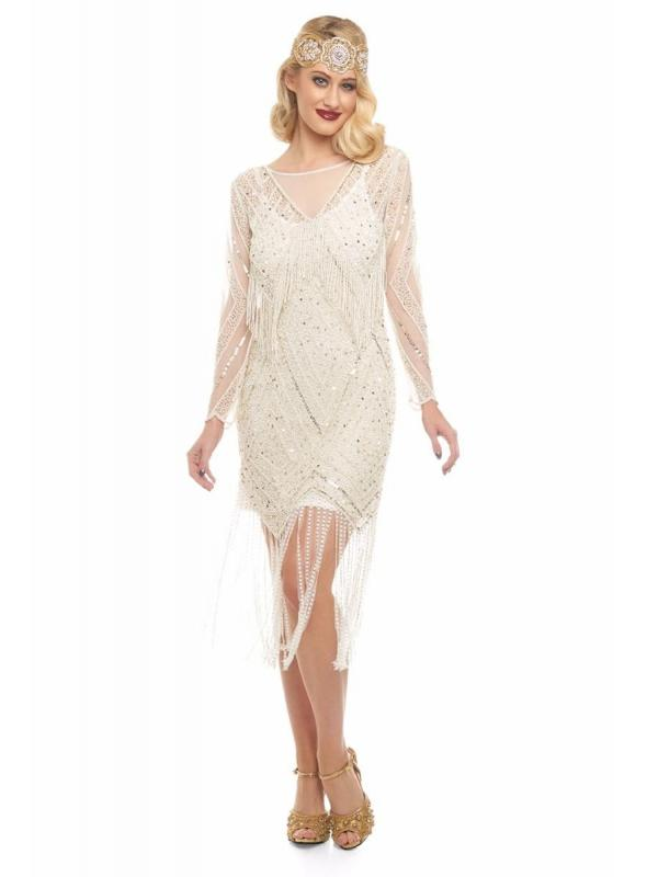 Charleston Fringe Party Dress in Ivory Gold