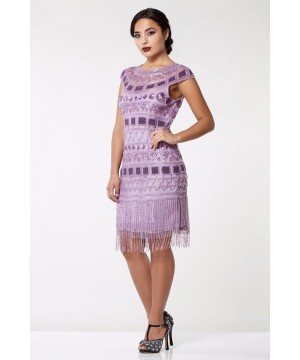 Great Gatsby Inspired Fringe Dress in Champagne Lilac
