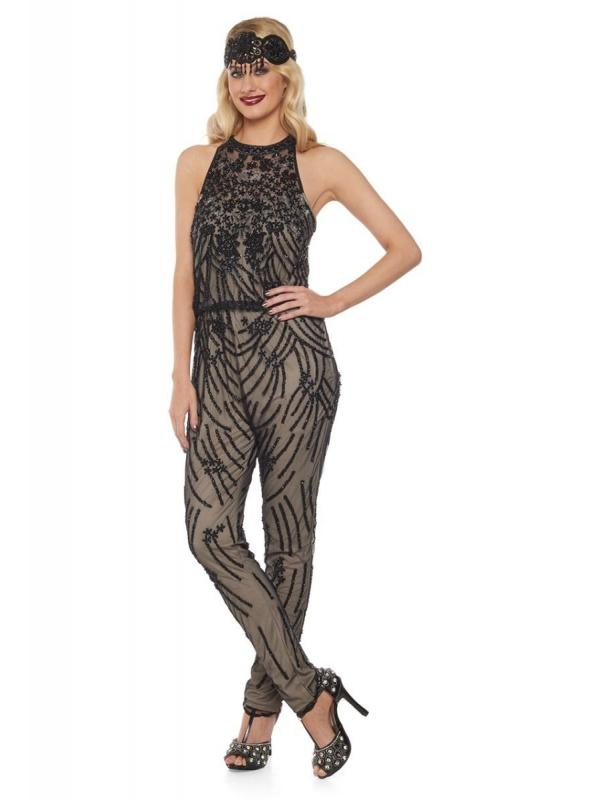 1920s Inspired Jumpsuit in Nude Black