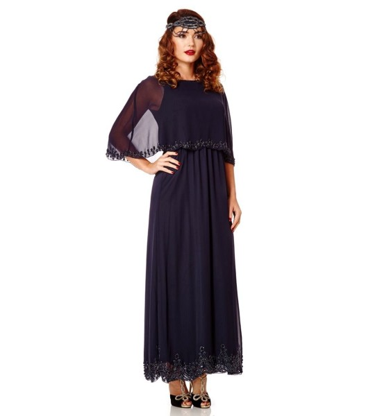 Flapper Style Maxi Cape Dress in Navy Blue