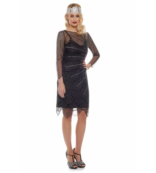 1920s Flapper Style Party Dress in Black Silver