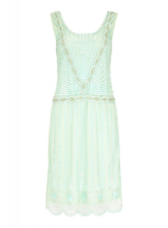 Gatsby Style Cocktail Party Dress in Mint