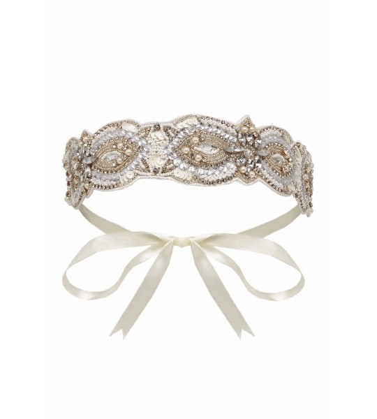 Vintage Inspired Flapper Headband in Cream
