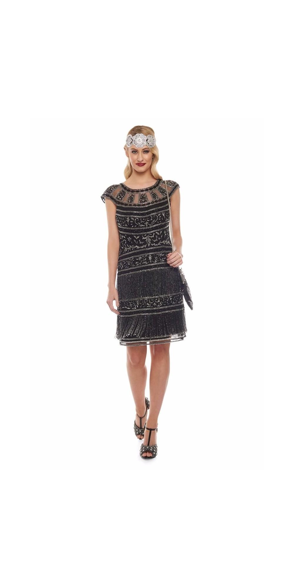 roaring twenties fringe party dress in black silver