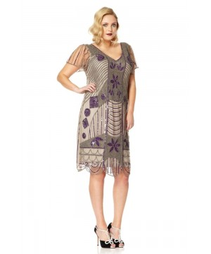 Art Deco 1920s Dress in Taupe