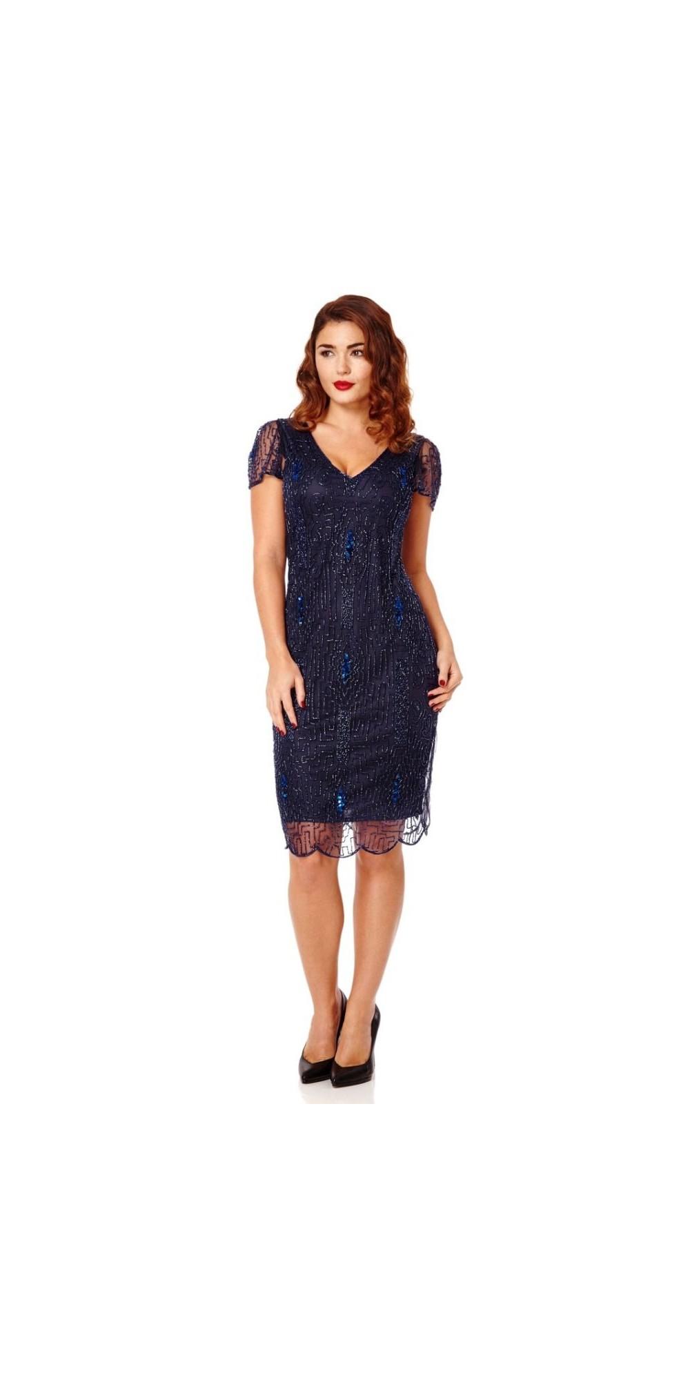 1920 Style Beaded Dress in Navy Blue
