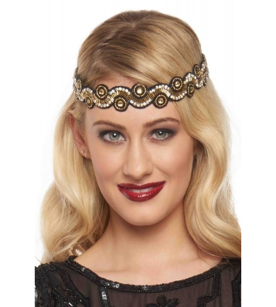 Flapper Style Headband in Black Gold