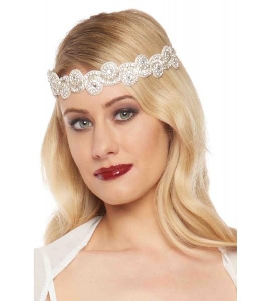 Flapper Style Headband in Cream Silver