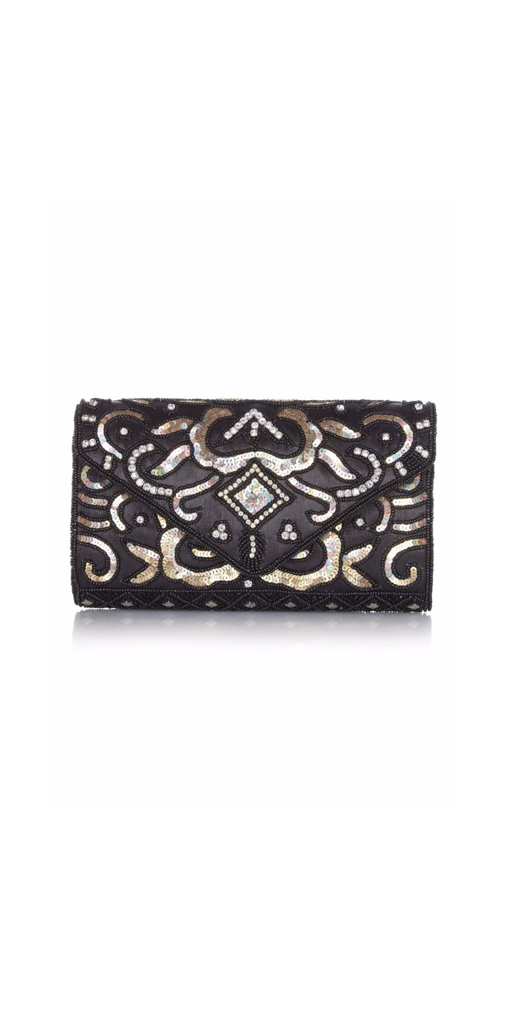 fair price exceptional range of styles best service Vintage Inspired Embellished Clutch Bag in Black Gold