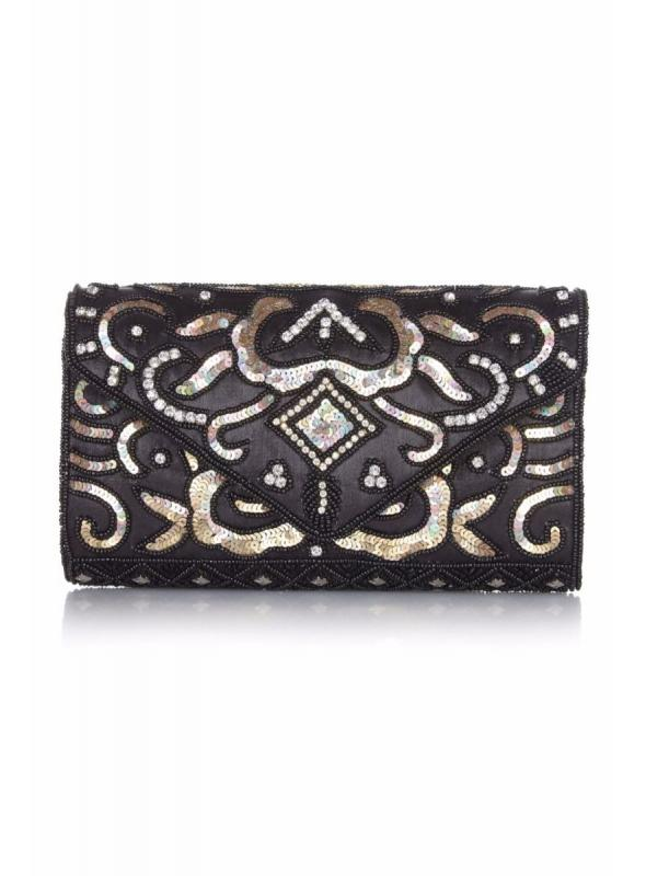 Vintage Inspired Embellished Clutch Bag in Black Gold
