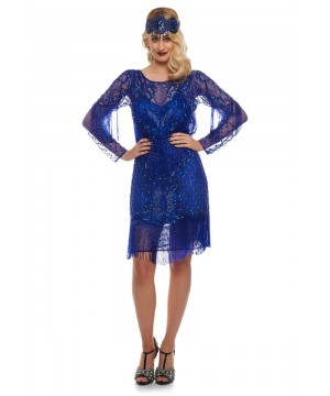 Flapper Style Fringe Jazz Dress in Royal Blue