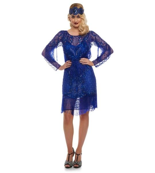 Flapper Style Fringe Jazz Dress in Royal Blue