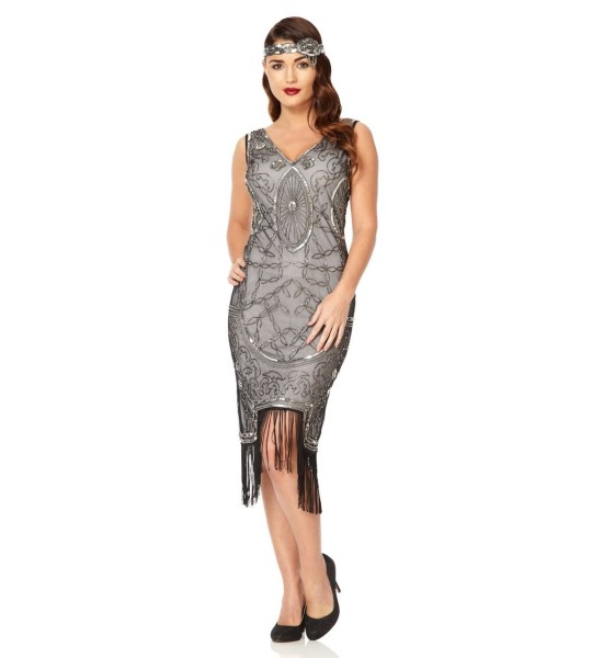 Art Deco Fringe Party Dress in Black Silver