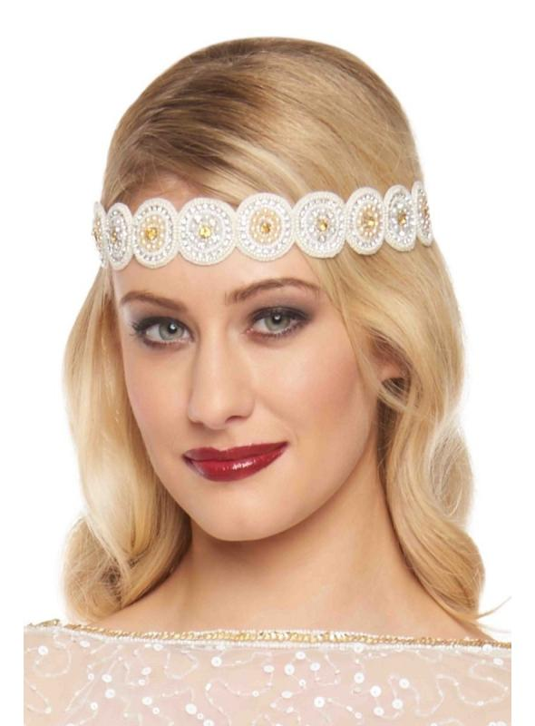 1920s Style Flapper Headband in Cream Gold