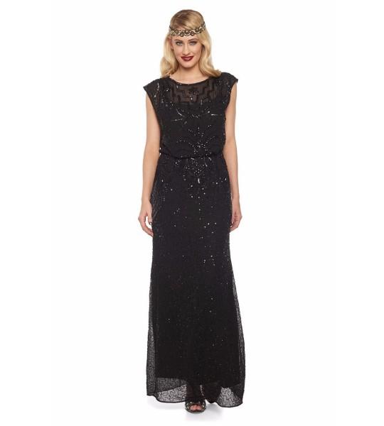 Roaring Twenties Beaded Maxi Dress in Black