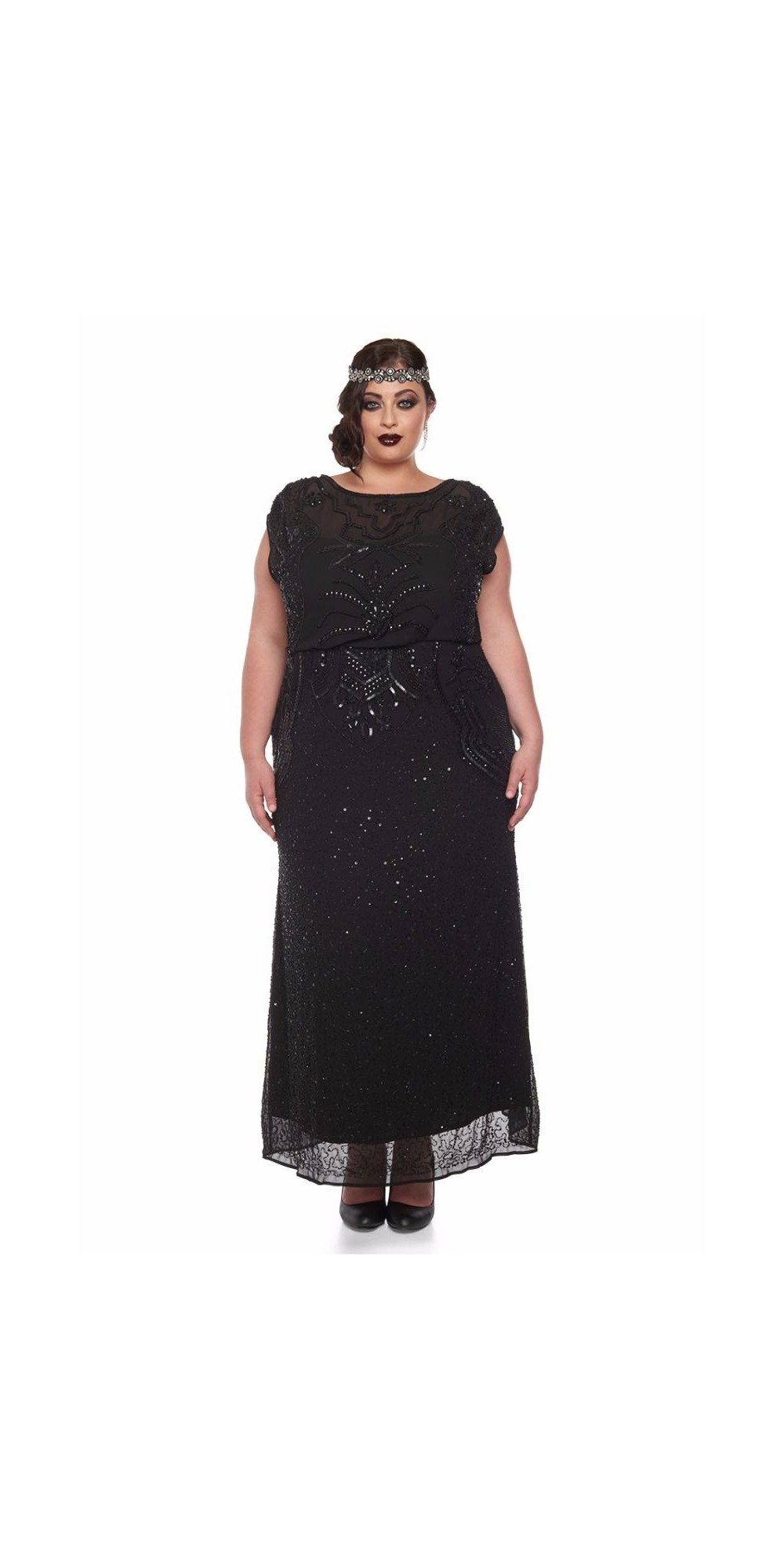 Roaring Twenties Beaded Maxi Dress In Black