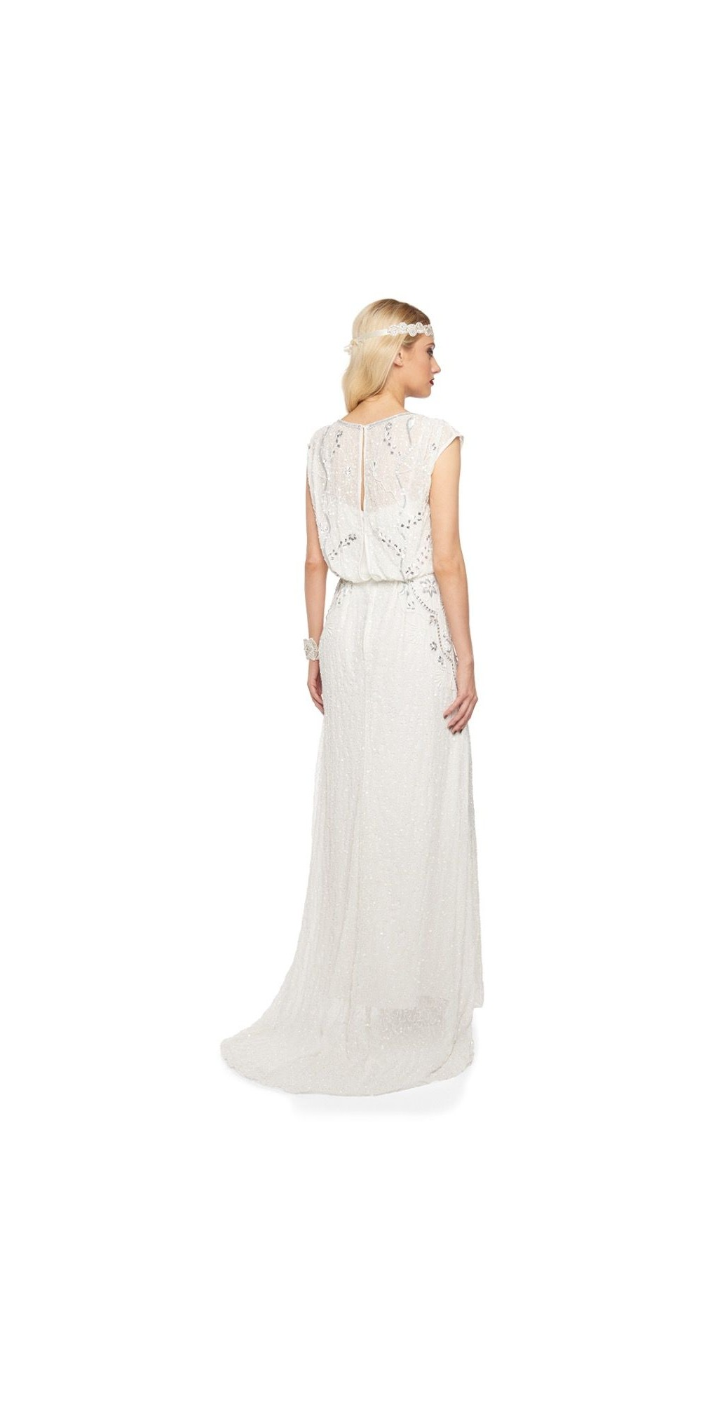 Roaring Twenties Beaded Maxi Dress In Off White