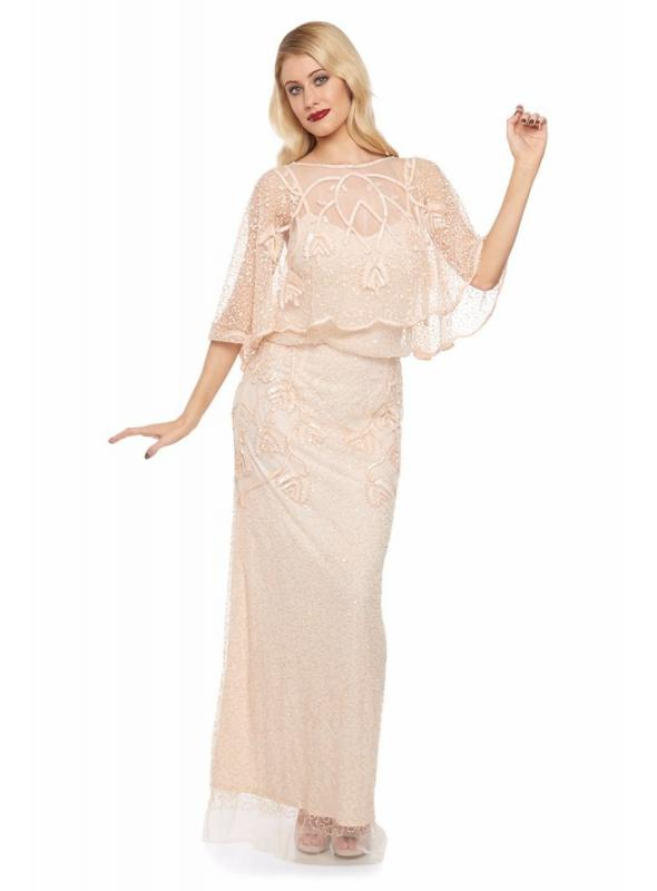 1920s Style Embellished Cape Bolero in Blush