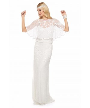 1920s Style Embellished Cape Bolero in Off White