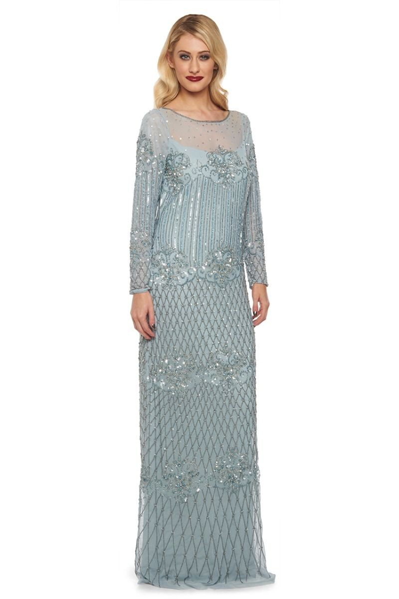 1920s Inspired Evening Maxi Dress in Vintage Blue