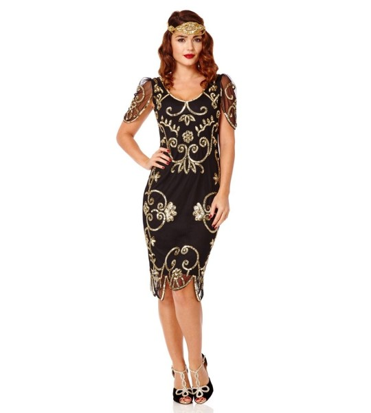 Art Nouveau Romantic Dress in Black Gold