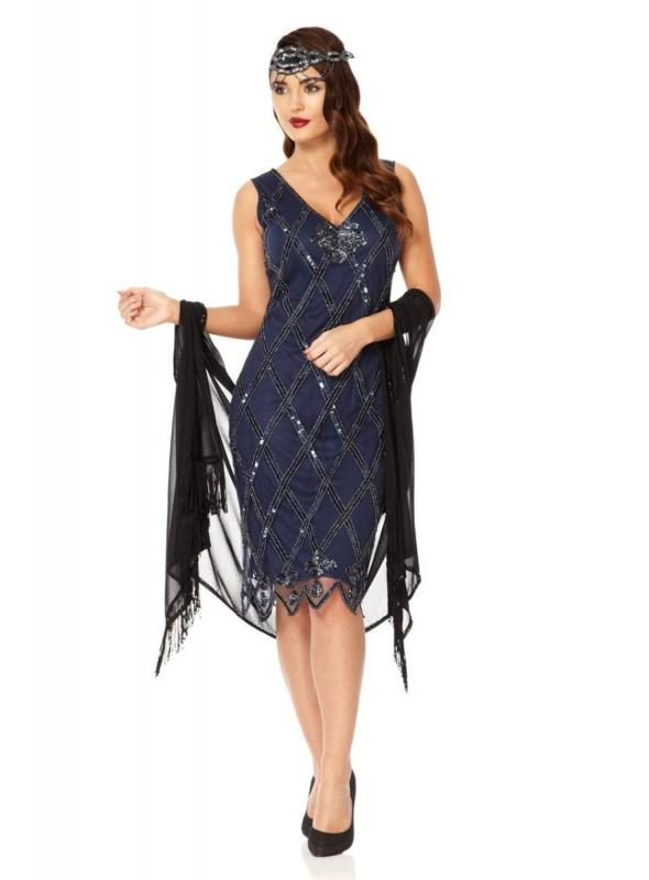 Flapper Style Sequined Dress in Navy Blue