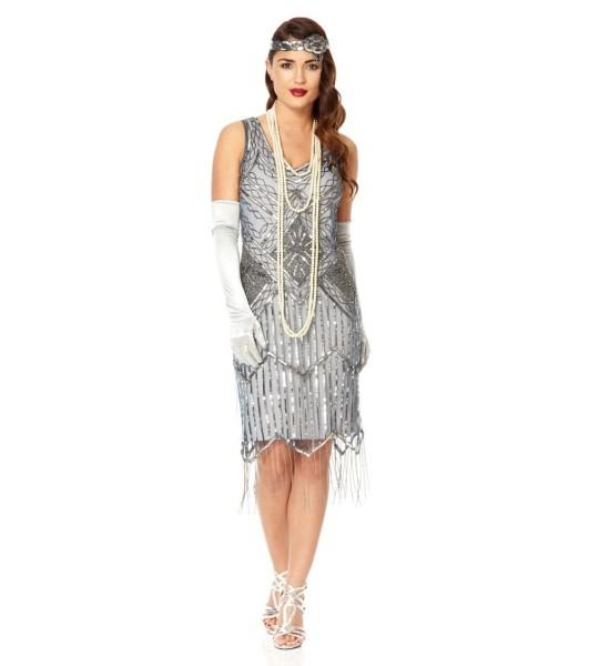Art Deco Fringe Party Dress in Blue Grey