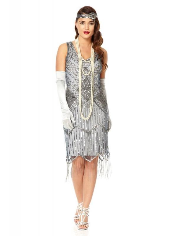 Art Deco Fringe Party Dress in Blue Grey