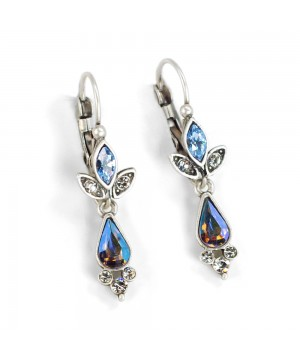 Victorian Style Teardrop Earrings in Silver