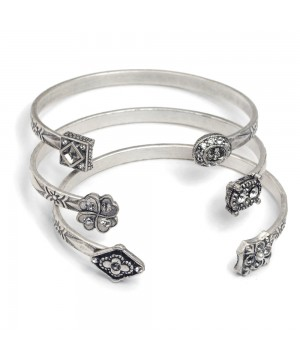 Victorian Style Set Of 3 Bracelets in Silver