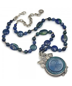 Neo-Classical Necklace in Blue/Green