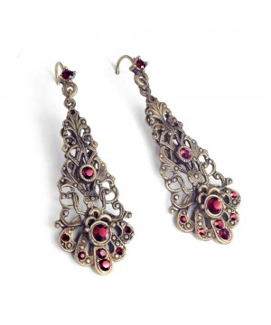Baroque Filigree Earrrings in Garnet