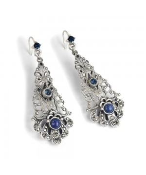 Baroque Filigree Earrrings in Blue