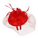 1920s Style Fascinator with Mesh Veil in Red