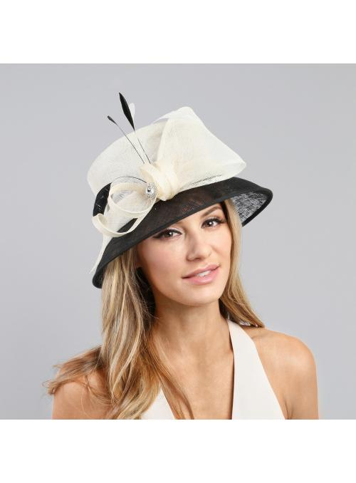 1920s Style Loopy Sinamay Hat in Black White