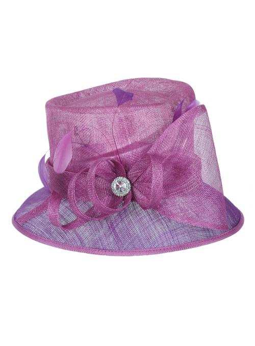 1920s Style Loopy Sinamay Hat in Purple