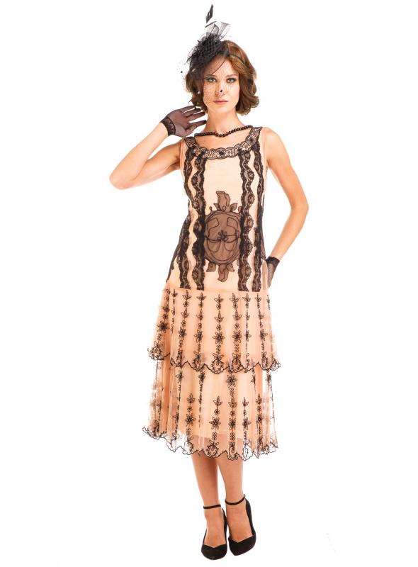 Age of Love Eva 1920s Flapper Style Dress in Peach/Black by Nataya