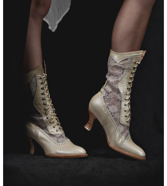 Jennie Victorian Inspired Leather & Lace Boots in Pearl by Oak Tree Farms