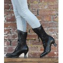 Victorian Inspired Leather & Lace Boots in Black