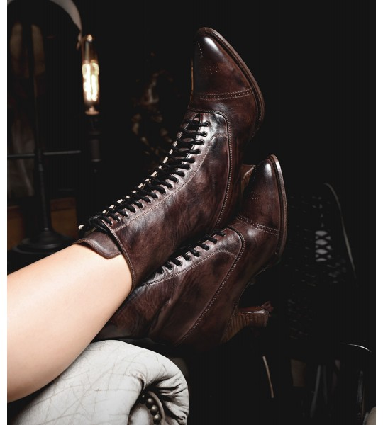 Mirabelle Victorian Mid-Calf Leather Boots in Teak Rustic by Oak Tree Farms