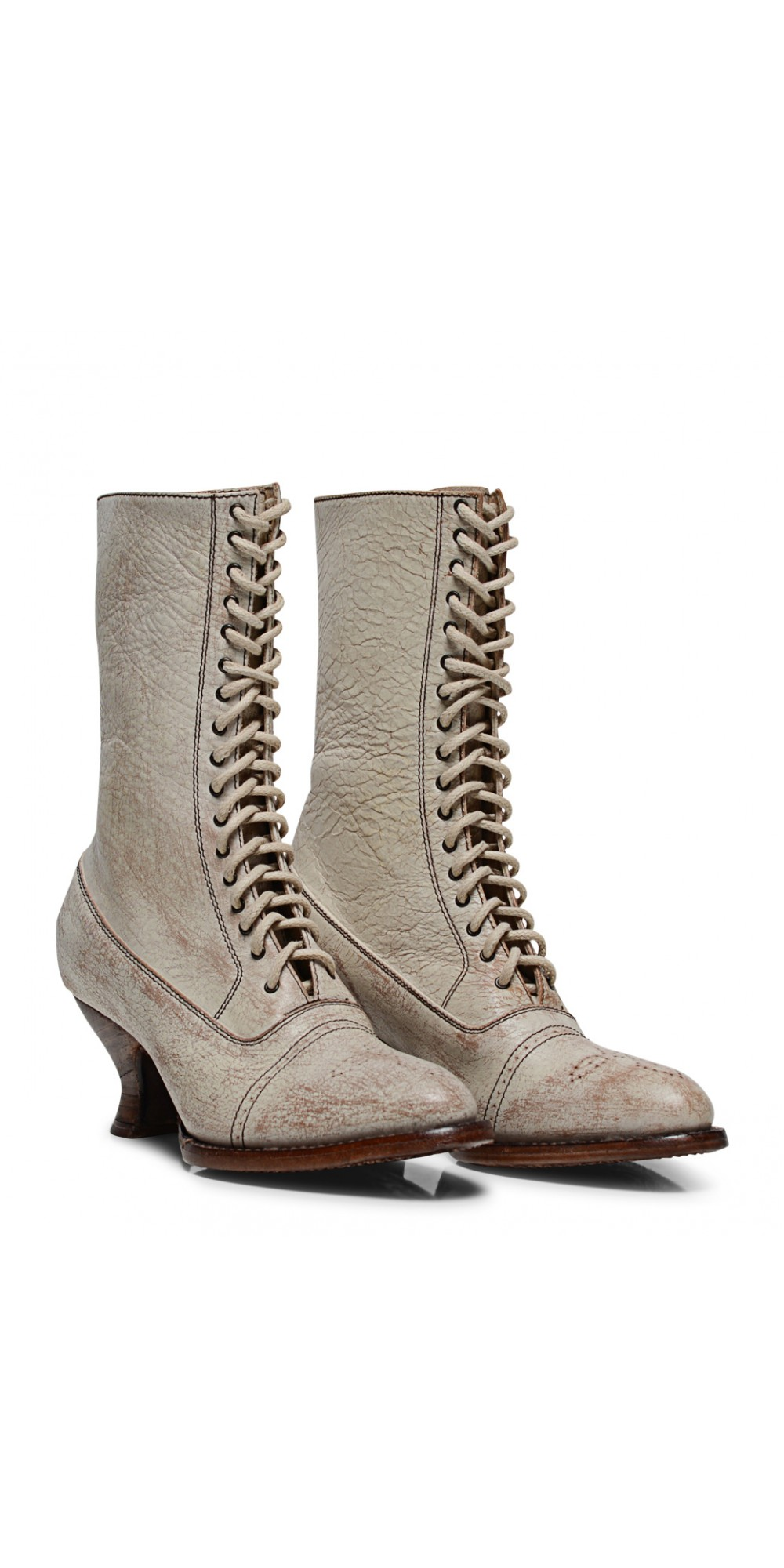 Mirabelle Victorian Mid Calf Leather Wedding Boots In