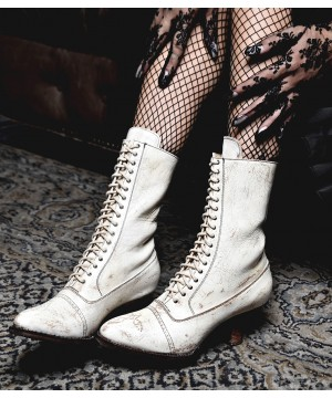 Victorian Mid-Calf Leather Wedding Boots in Nectar Lux