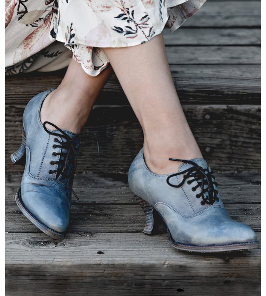 Janet Victorian Style Leather Lace-Up Shoes in Steel Blue by Oak Tree Farms