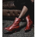 Victorian Style Leather Ankle Boots in Red Rustic