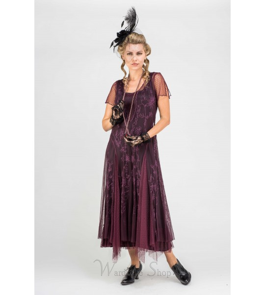 "40265 ""Melissa"" Vintage Inspired Party Dress in Eggplant by Nataya"
