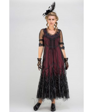 """40257 """"Magnifique"""" Vintage inspired Party Dress in Wine by Nataya"""